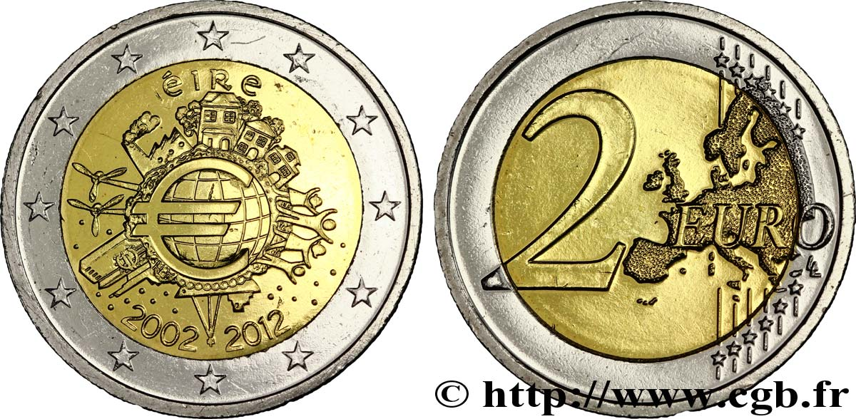 Irland 2 Euro 10 Ans Des Pièces Et Billets En Euros Tranche B 2012