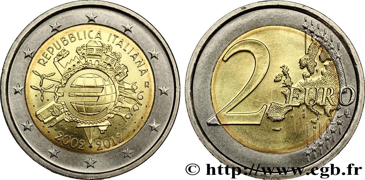 ITALY 2 Euro 10 ANS DES PIÈCES ET BILLETS EN EUROS tranche B 2012