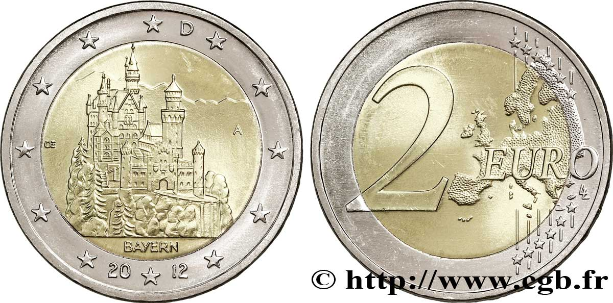Deutschland 2 Euro Baviere Château De Neuschwanstein Tranche A