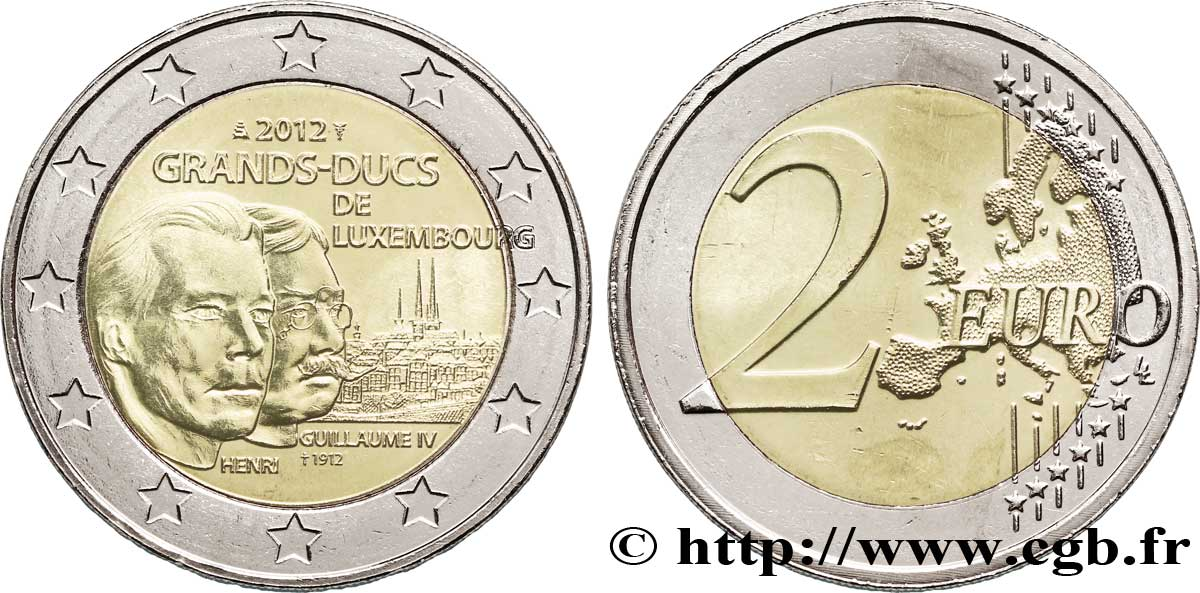 LUXEMBOURG 2 Euro GRAND-DUC GUILLAUME IV 2012 SPL