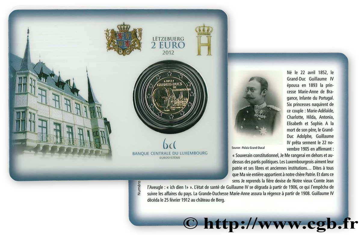 LUXEMBOURG Coin-Card 2 Euro GRAND-DUC GUILLAUME IV 2012 BU