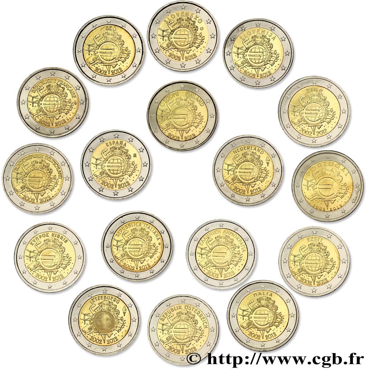 EUROPA lot 17 pièces de 2 Euro 10 ANS DES PIÈCES ET BILLETS EN EUROS 2012