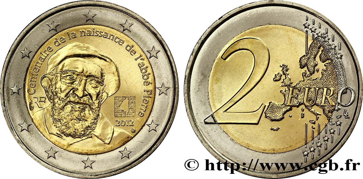 France 2 Euro Centenaire De La Naissance De Labbe Pierre Tranche B