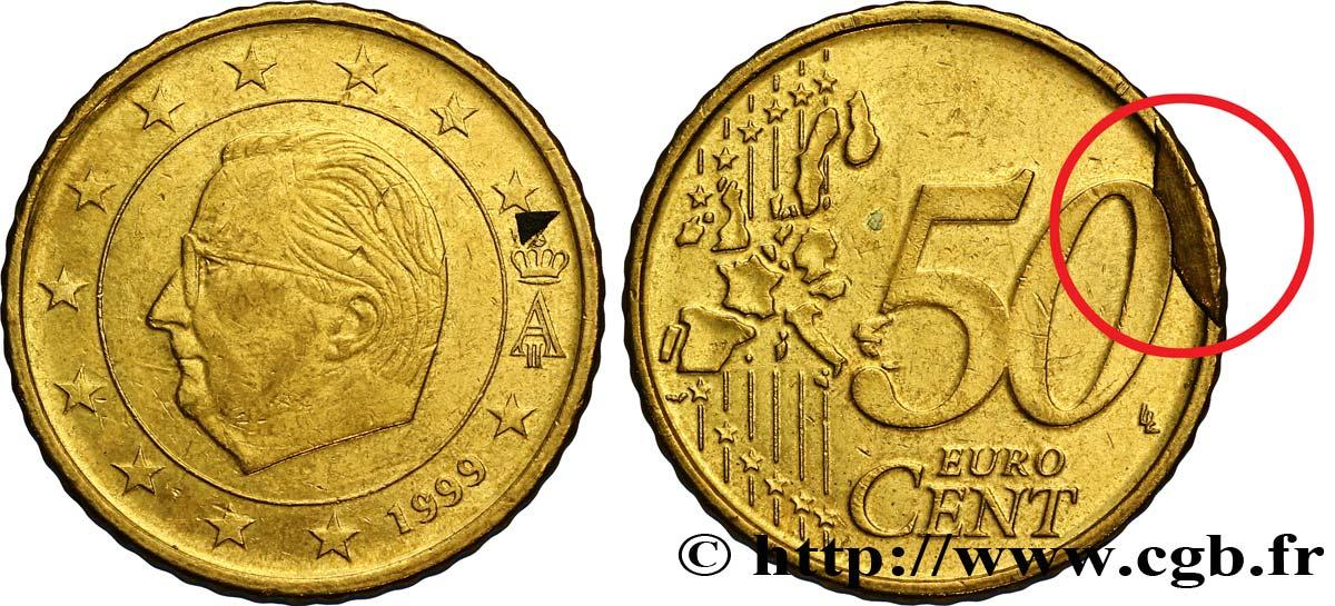 belgique 50 cent albert ii coin cass 1999 bruxelles feu 287009 euros. Black Bedroom Furniture Sets. Home Design Ideas