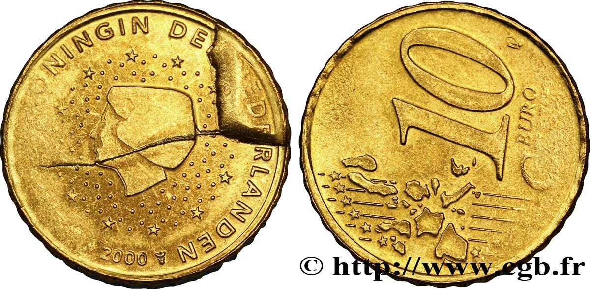 Niederlande 10 Cent Beatrix Coin Cassé Et Désaxée à 45 2000