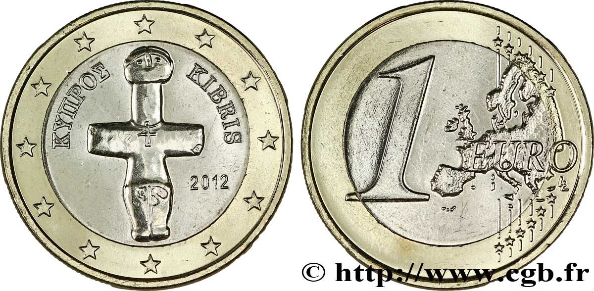 Zypern 1 Euro Idole De Pomos 2012 Feu289937 Euro Münzen