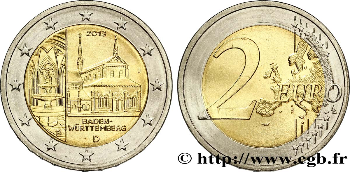 ALLEMAGNE 2 Euro BADE-WURTTEMBERG - MONASTÈRE DE MAULBRONN tranche A - Hambourg J 2013 SPL63