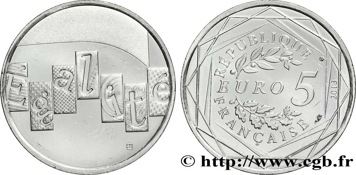 France 5 Euro Légalité 2013 Pessac Feu301075 Euros
