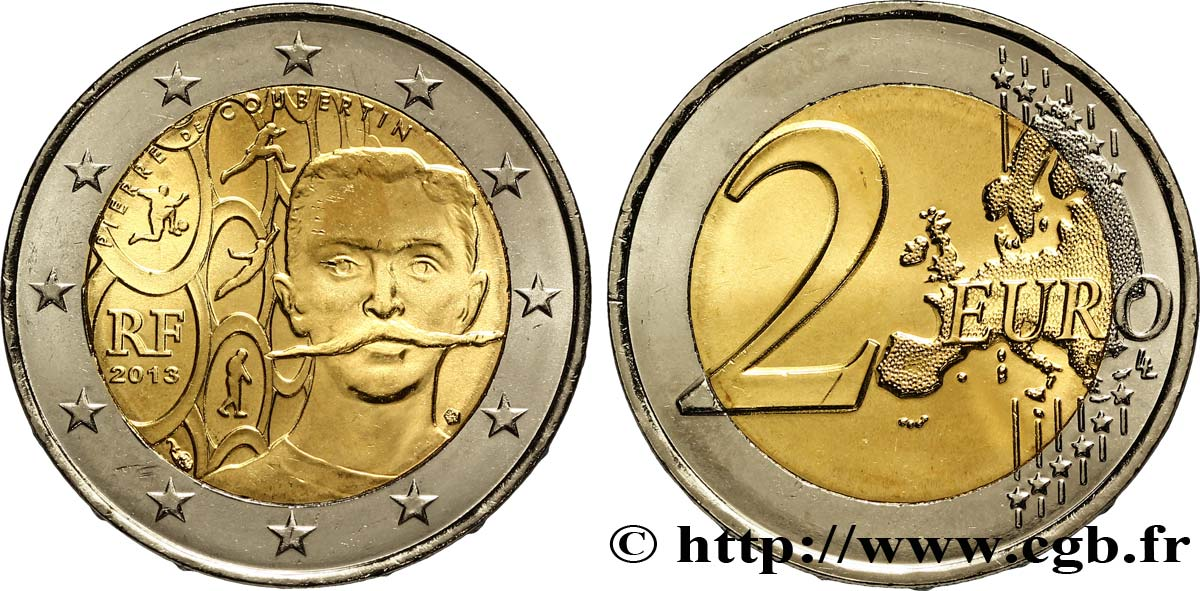 FRANCE 2 Euro PIERRE DE COUBERTIN 2013 MS