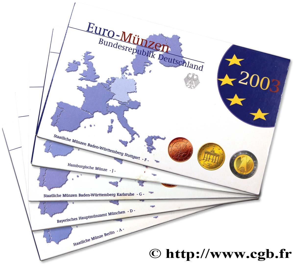 Allemagne Lot 5 Ateliers Coffrets Euro Belle épreuve A D F G J