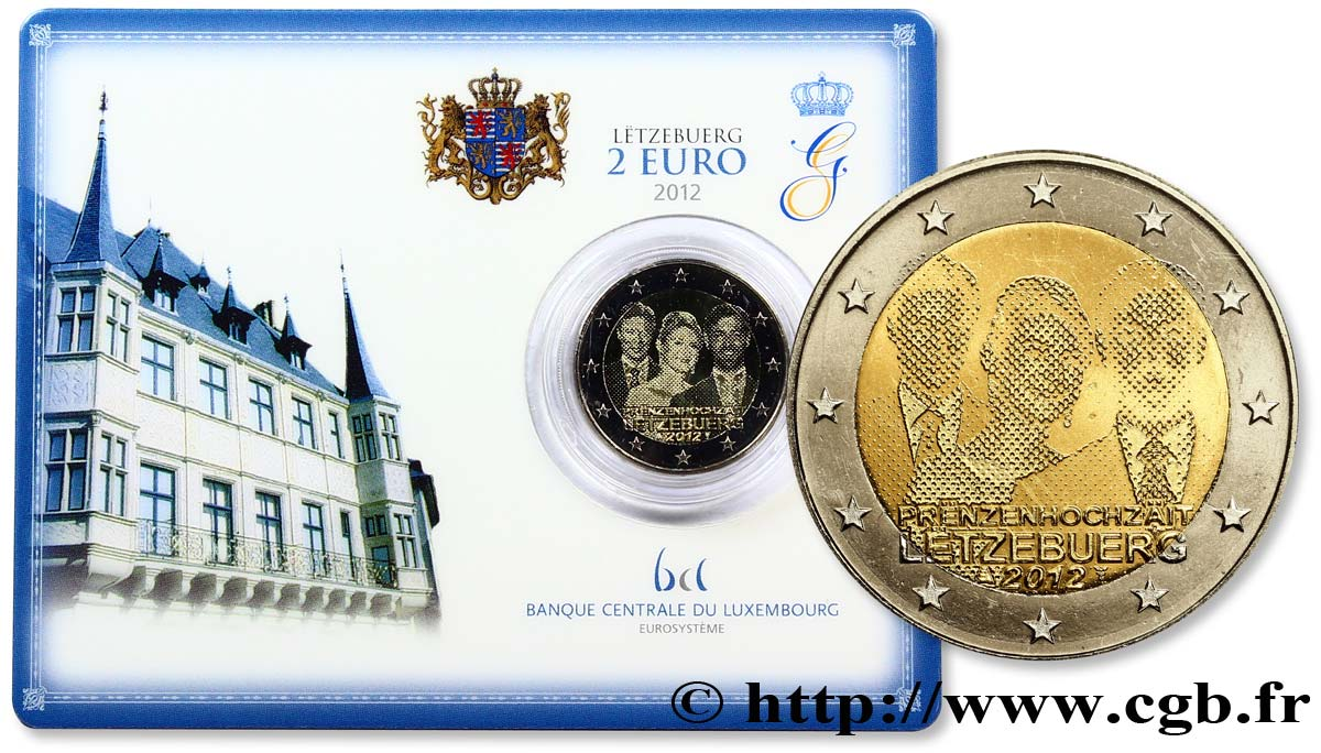 Luxemburg Coin Card 2 Euro Mariage Grand Duc Heritier Guillaume 2012
