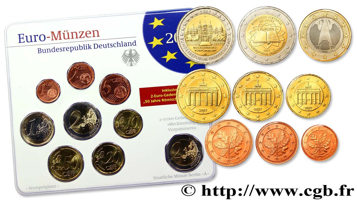 GERMANY SÉRIE Euro BRILLANT UNIVERSEL  2007 Brilliant Uncirculated