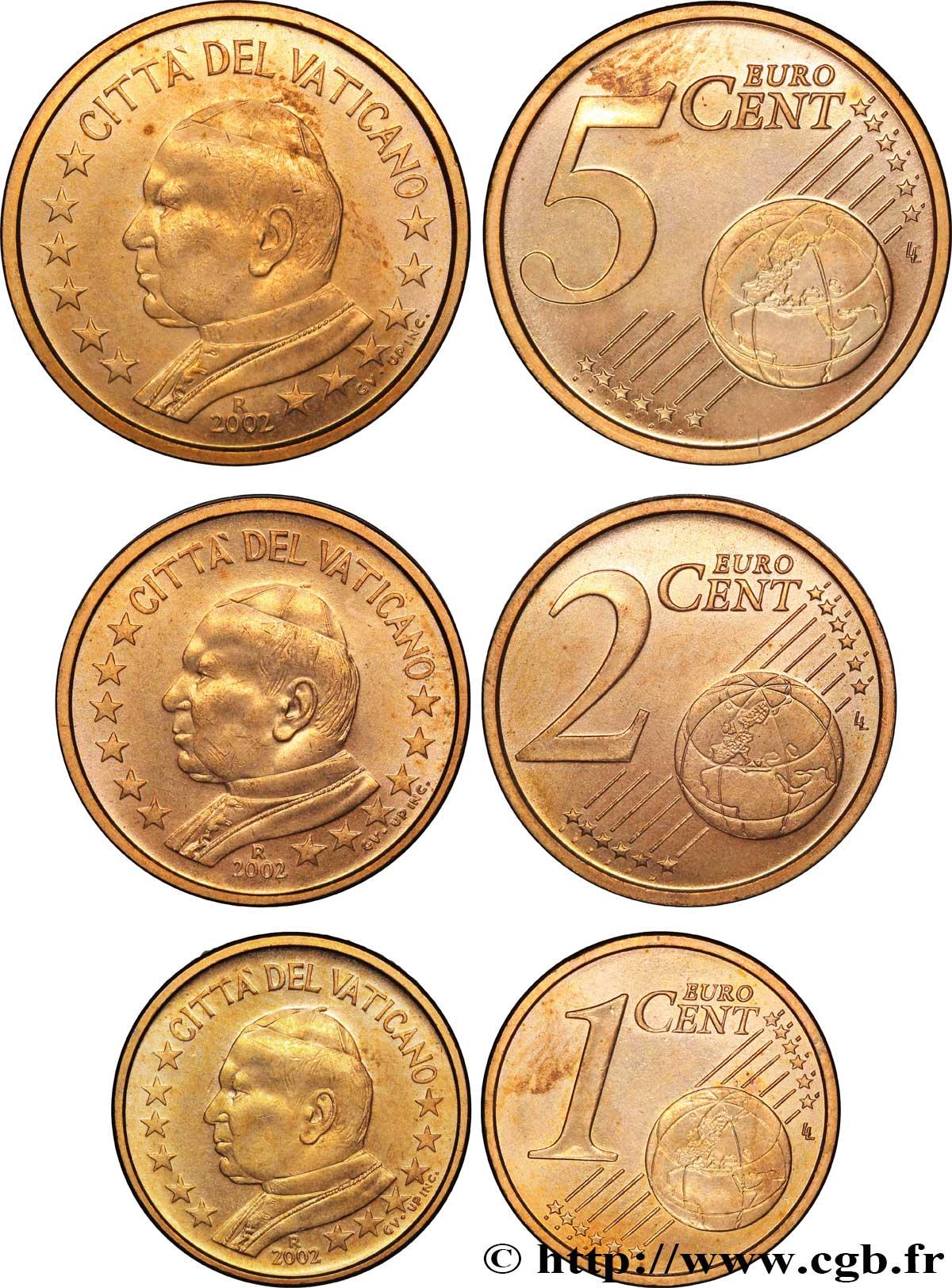 Vatikan Lot 1 Cent 2 Cent 5 Cent Jean Paul Ii 2002 Rome