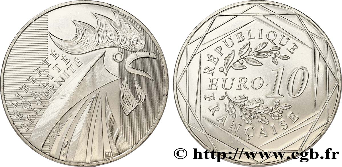 France 10 euro coq 2014 pessac fdc70 feu 322274 euros for Cuisine 7000 euros