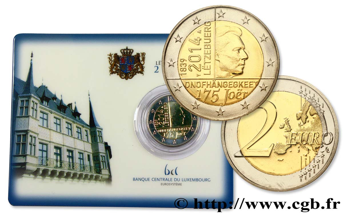 LUXEMBOURG Coin-Card 2 Euro INDEPENDANCE DU GRAND-DUCHE DE LUXEMBOURG 2014 BU