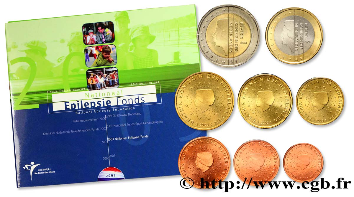NETHERLANDS SÉRIE Euro BRILLANT UNIVERSEL - Fondation contre l épilepsie 2003 Brilliant Uncirculated