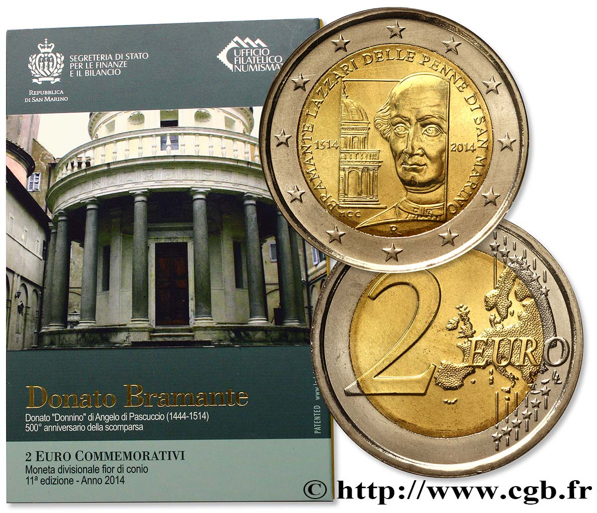 SAN MARINO Blister BU 2 Euro DONATO BRAMANTE 2014 Brilliant Uncirculated