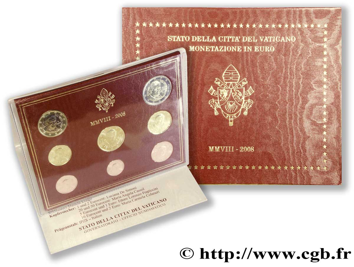 VATICAN SÉRIE Euro BRILLANT UNIVERSEL  2008 Brilliant Uncirculated