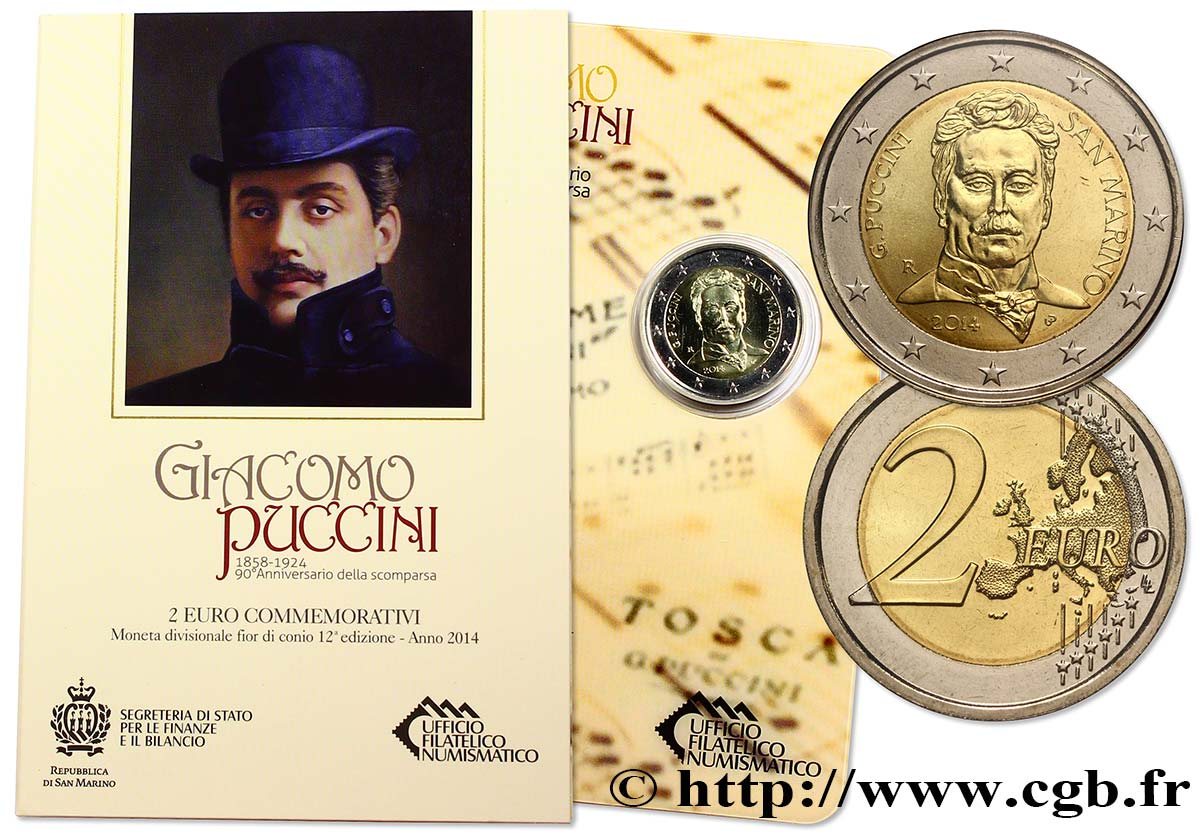 SAN MARINO Blister BU 2 Euro PUCCINI 2014 Brilliant Uncirculated