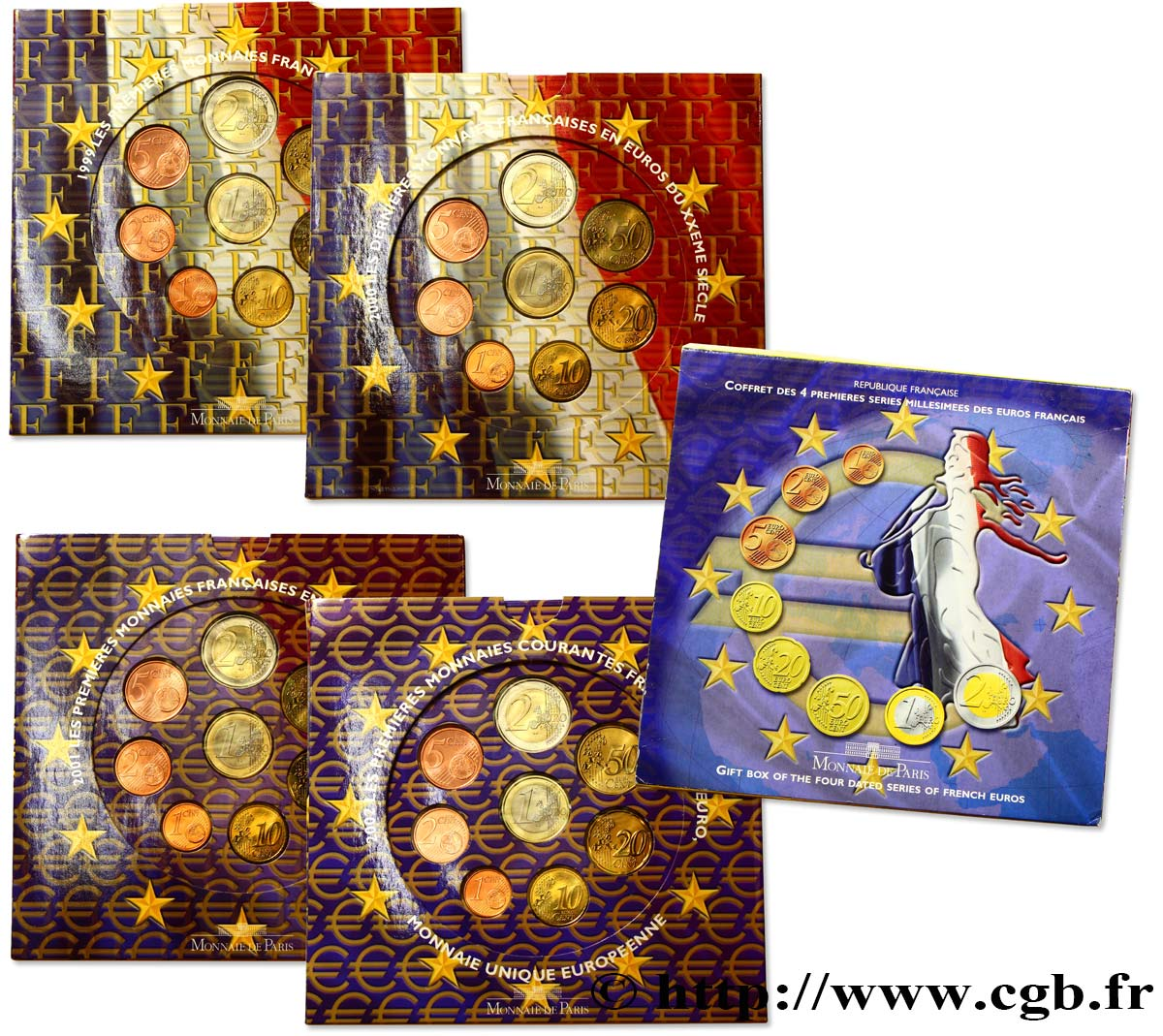 FRANCE COFFRET 4 SÉRIES Euro BRILLANT UNIVERSEL 1999-2000-2001-2002 n.d. BU