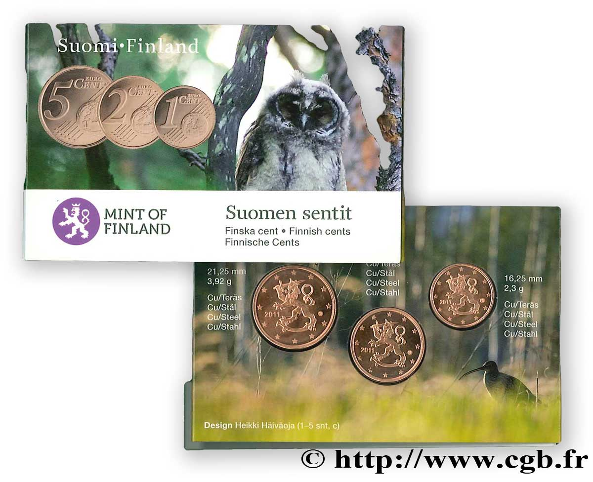 FINLAND MINI-SÉRIE Euro BRILLANT UNIVERSEL 1,2 et 5 Cent 2011 Brilliant Uncirculated
