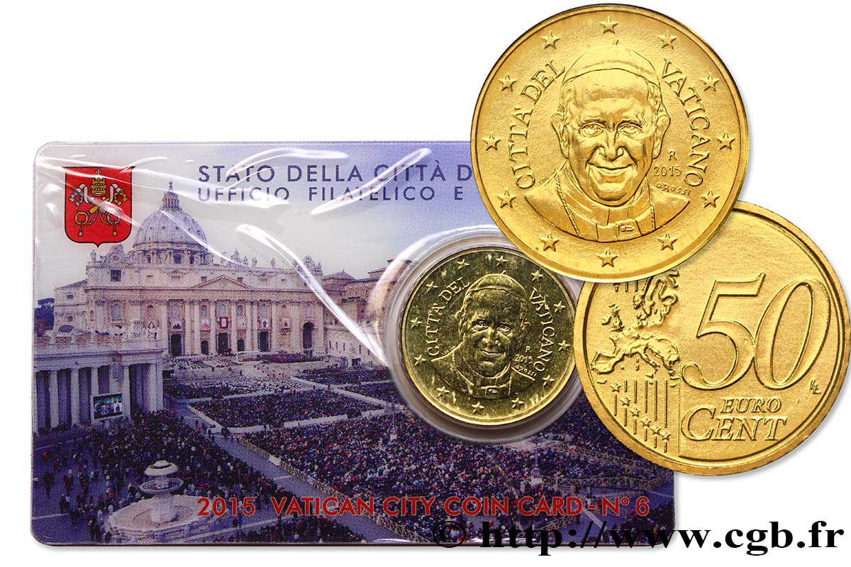 VATICAN Coin-Card (n°6) 50 Cent PLACE SAINT-PIERRE