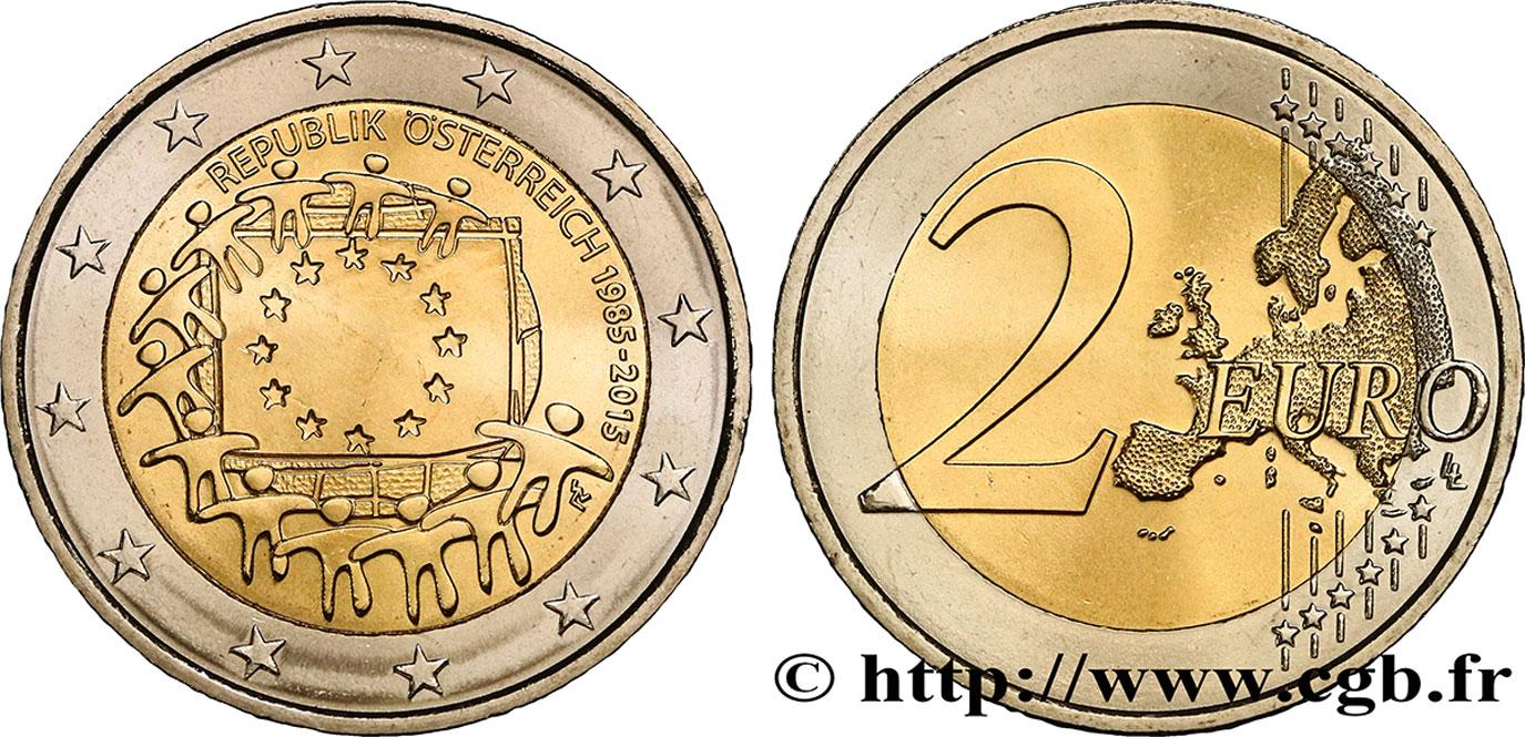 autriche 2 euro 30e anniversaire du drapeau europ en 2015 vienne spl feu 374919 euros. Black Bedroom Furniture Sets. Home Design Ideas