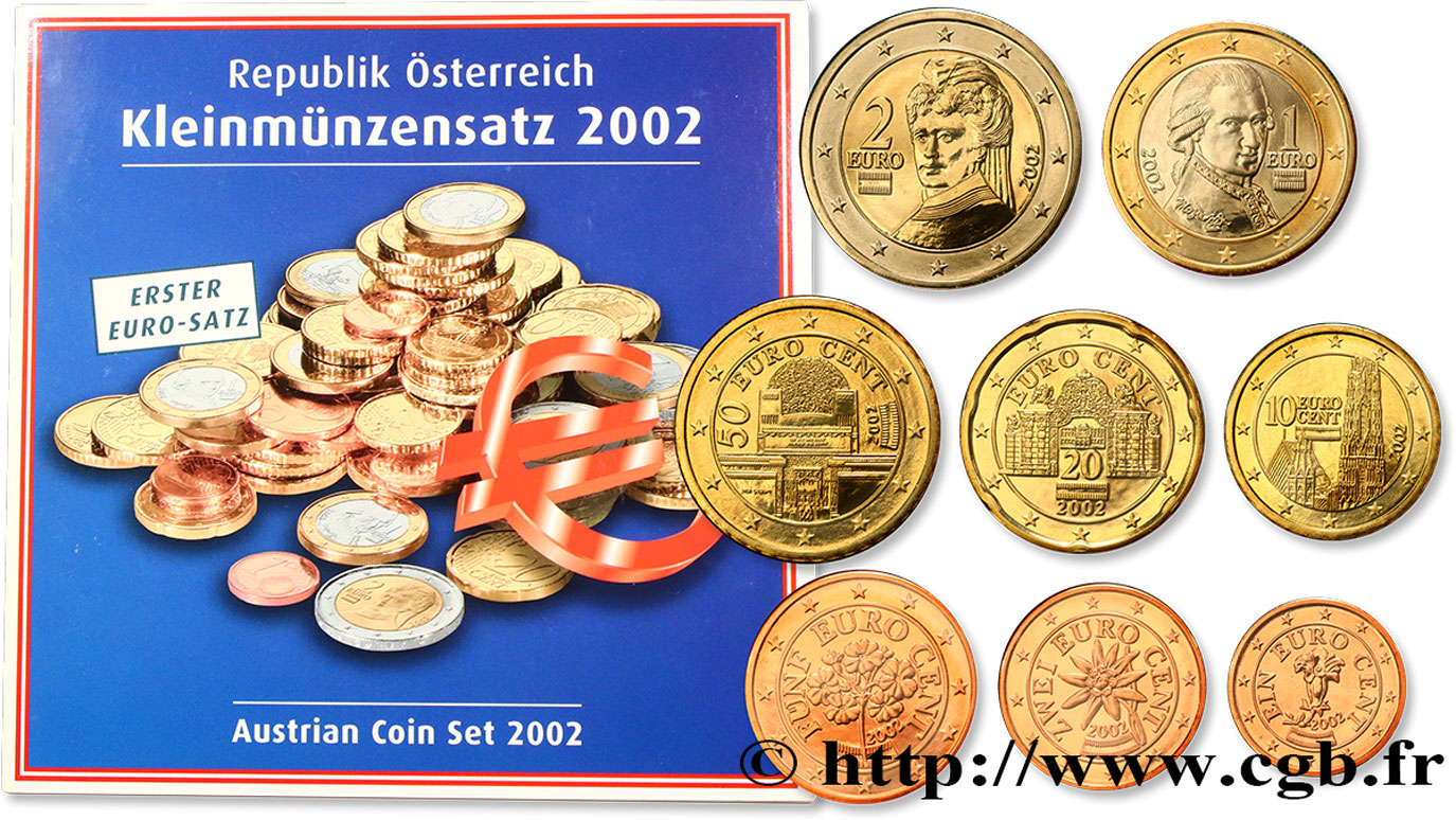 AUSTRIA SÉRIE Euro BRILLANT UNIVERSEL  2002 Brilliant Uncirculated
