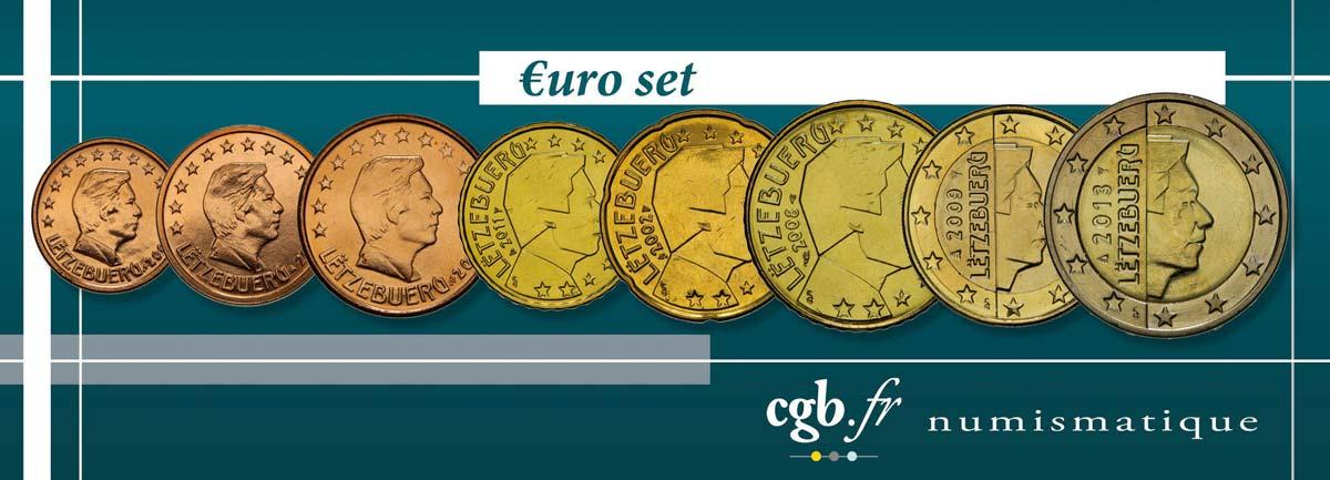Luxemburg Lot De 8 Pièces Euro 1 Cent 2 Euro Grand Duc Henri