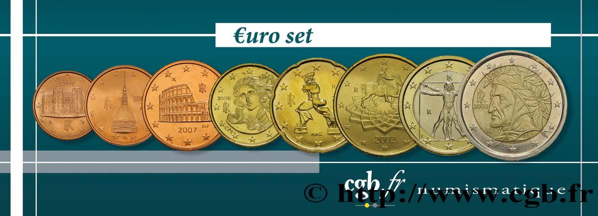 Italien Lot De 8 Pièces Euro 1 Cent 2 Euro Dante Nd Rome