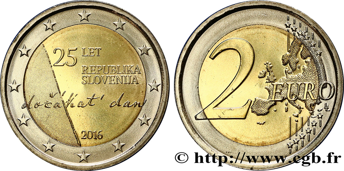 slovenia 2 euro 25e anniversaire de la r publique de. Black Bedroom Furniture Sets. Home Design Ideas