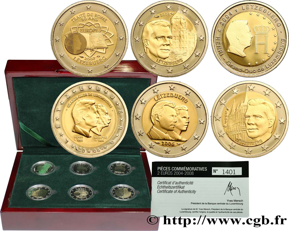 Luxemburg Coffret 6 X Belle épreuve 2 Euro Commémorative 2004 2018