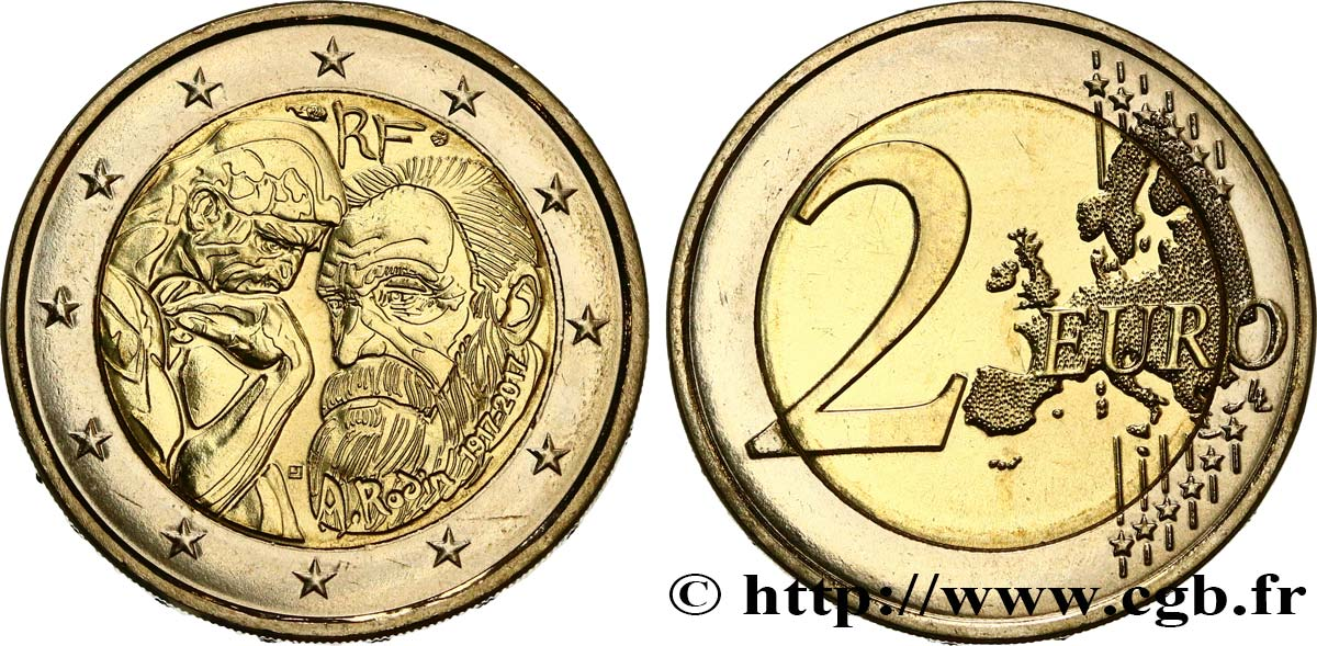 FRANCE 2 Euro AUGUSTE RODIN 2017 MS