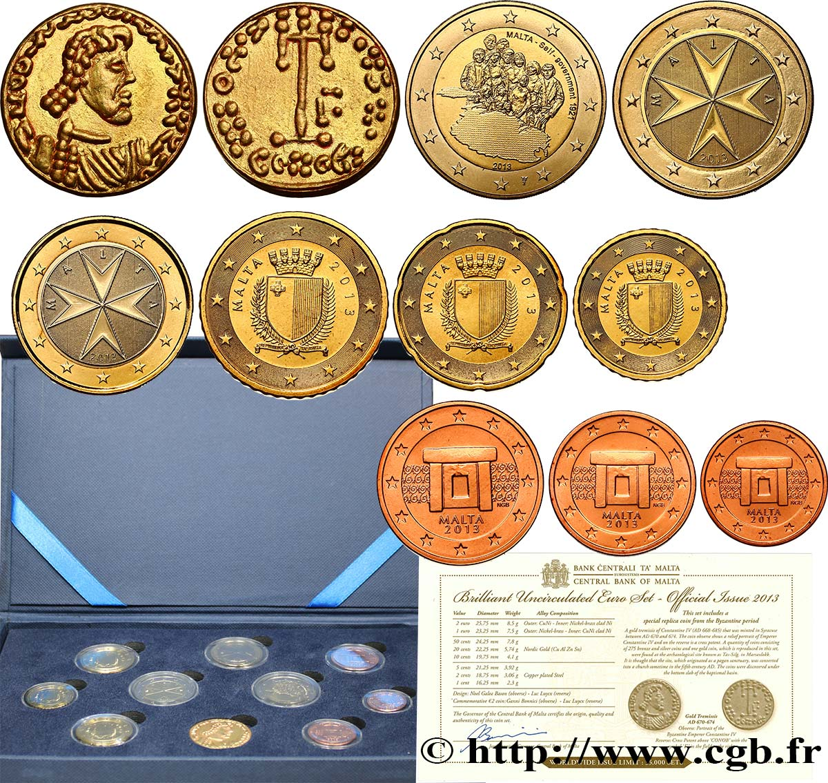 Malta Série Euro Brillant Universel 2013 Feu459600 Euro Münzen