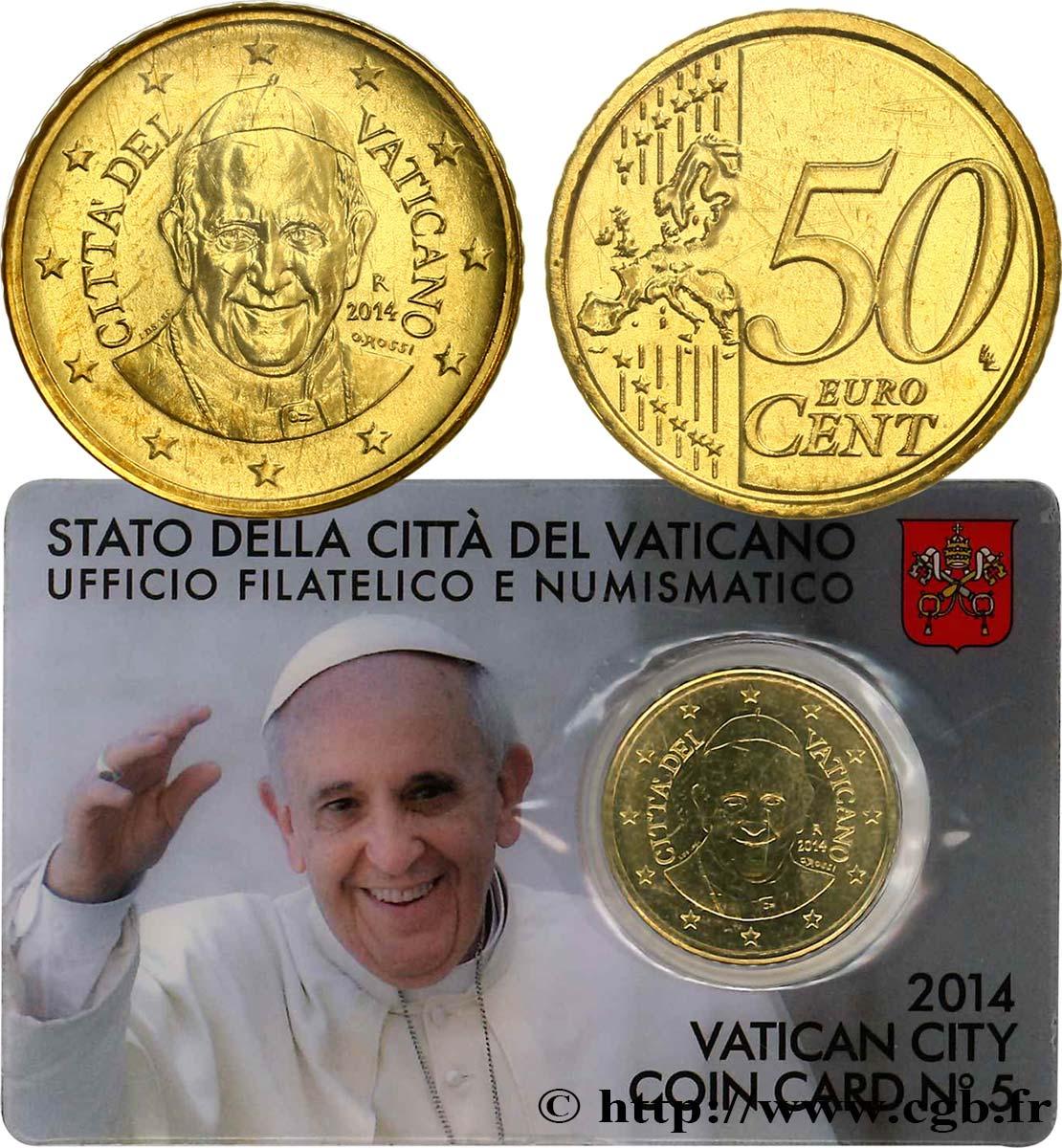 Vatican Coin Card N5 50 Cent Pape François 2014 Rome Feu500020 Euros