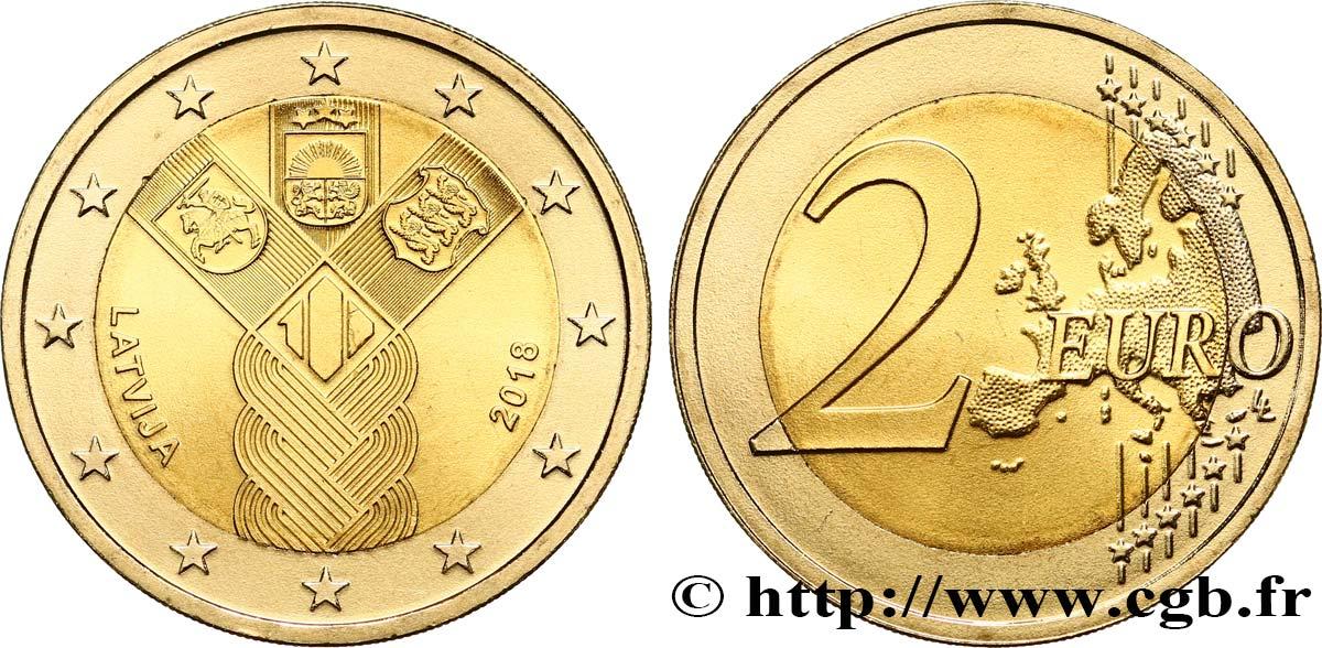 Lettland 2 Euro Centenaire Des états Baltes 2018 Feu474908 Euro Münzen