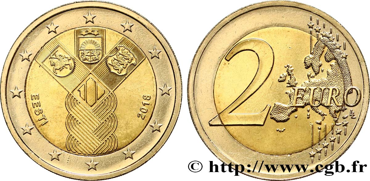 Estland 2 Euro Centenaire Des états Baltes 2018 Feu474910 Euro Münzen