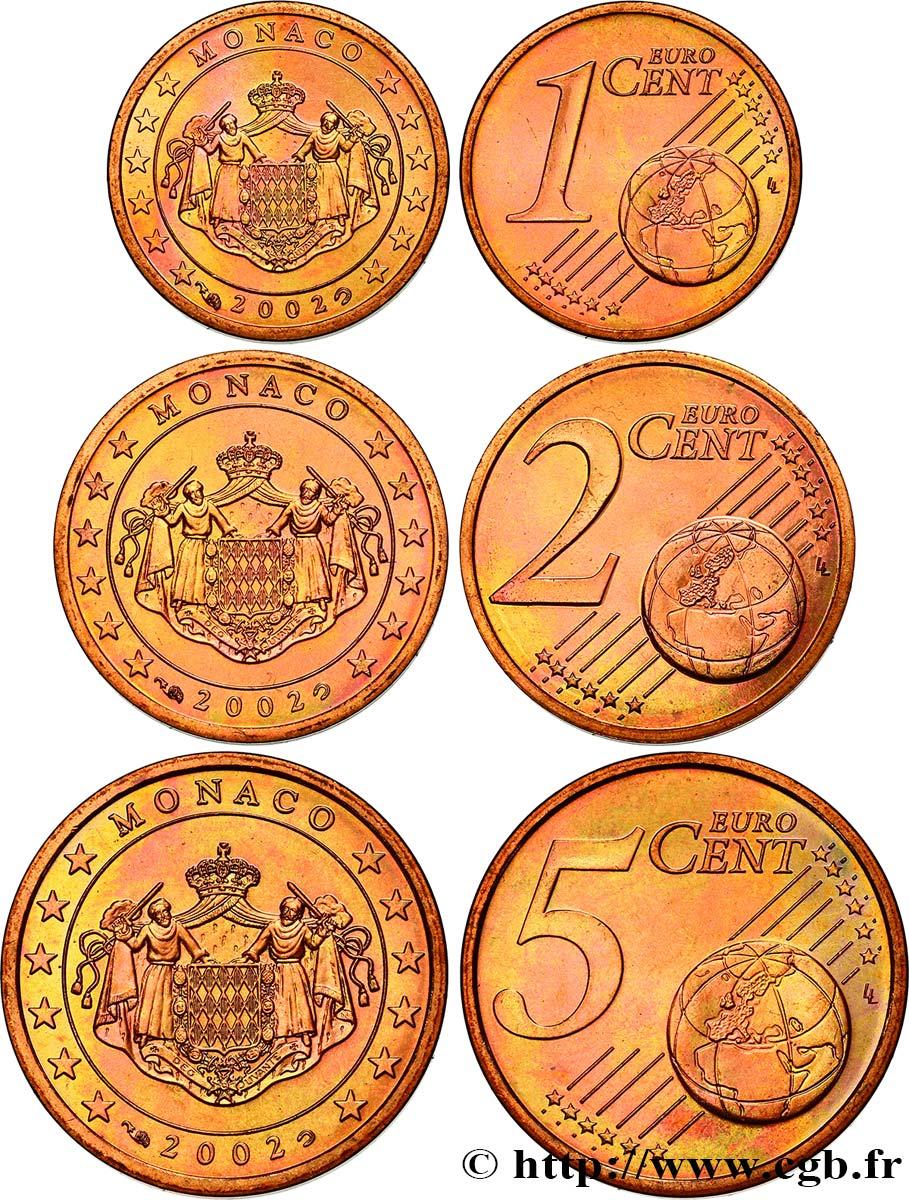 Monaco Lot 1 Cent 2 Cent 5 Cent Armoiries 2002 Pessac Feu478338
