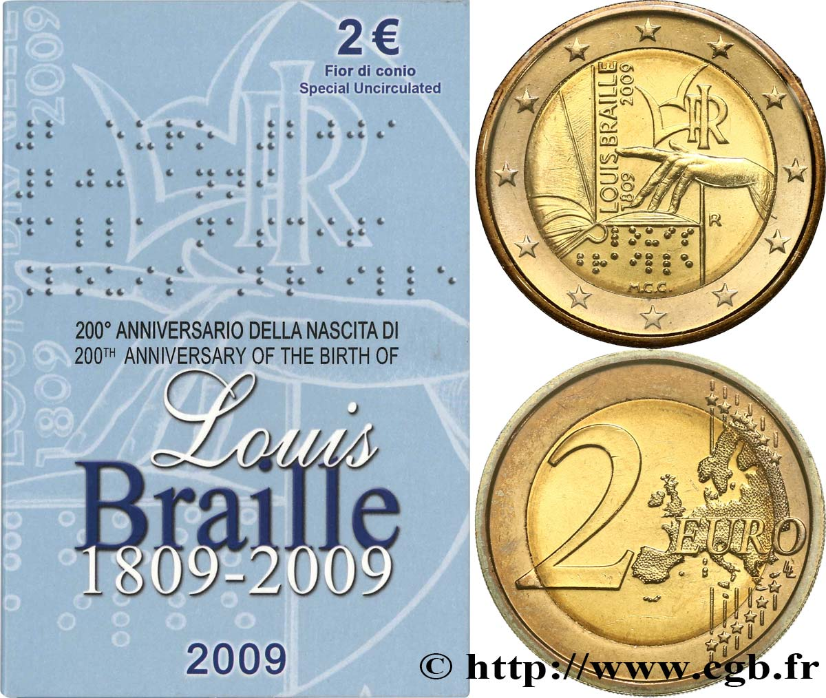 Italien Blister Brillant Universel 2 Euro Bicentenaire De La