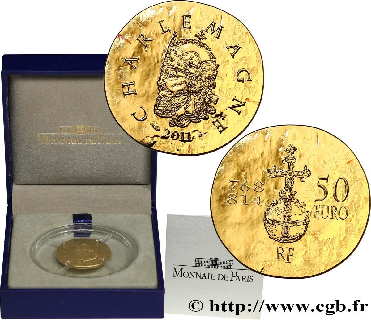 Frankreich Belle épreuve 50 Euro Or Charlemagne 14 Once 2011