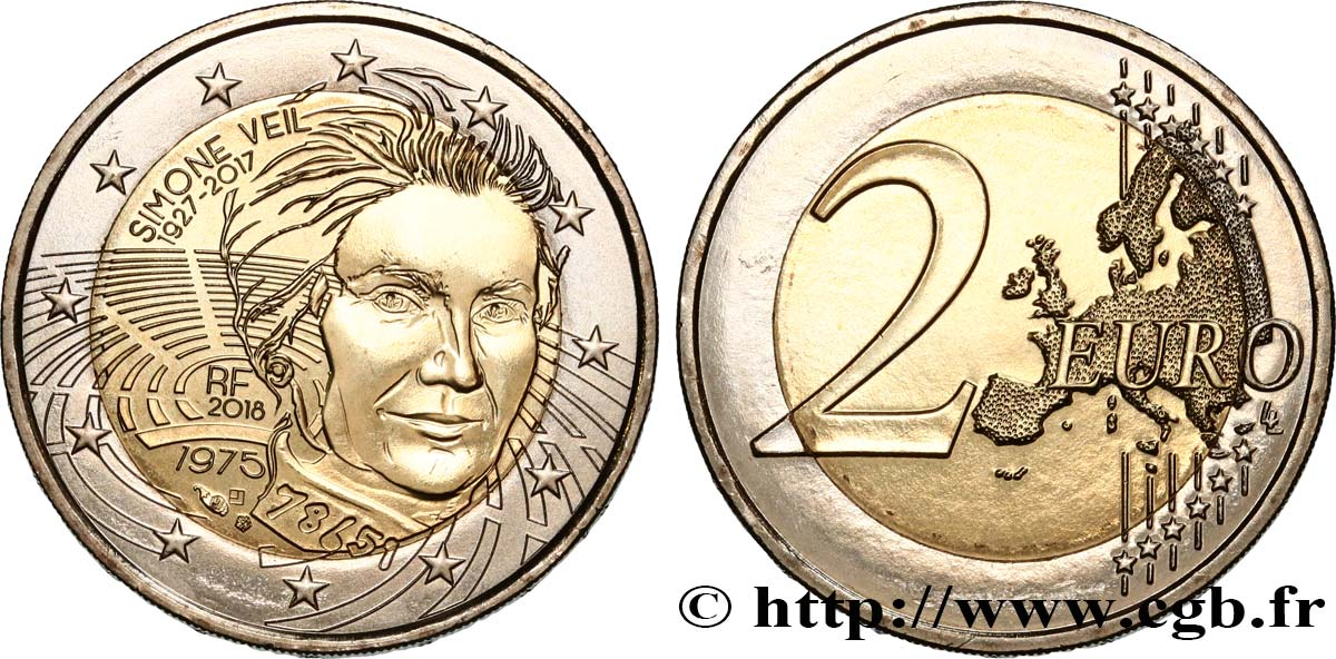 Frankreich 2 Euro Simone Veil 2018 Pessac Feu503891 Euro Münzen