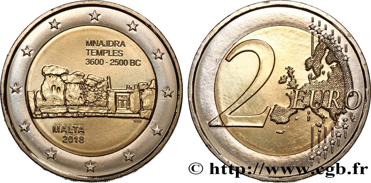 Malta 2 Euro Temple Mnajdra 2018 Feu503893 Euro Münzen