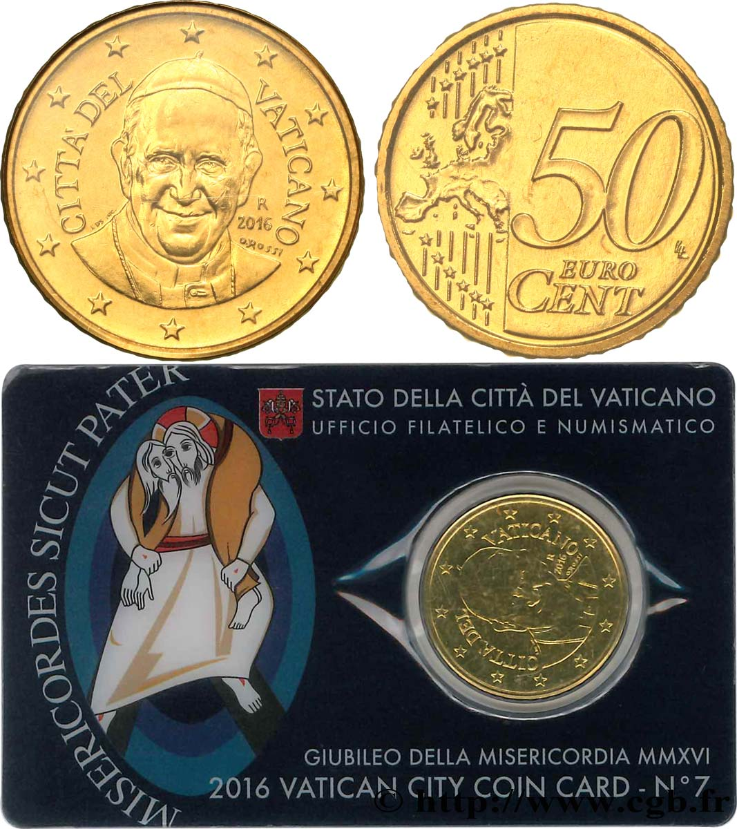 VATICAN Coin-Card (n°7) 50 Cent PAPE FRANÇOIS (+ timbre)