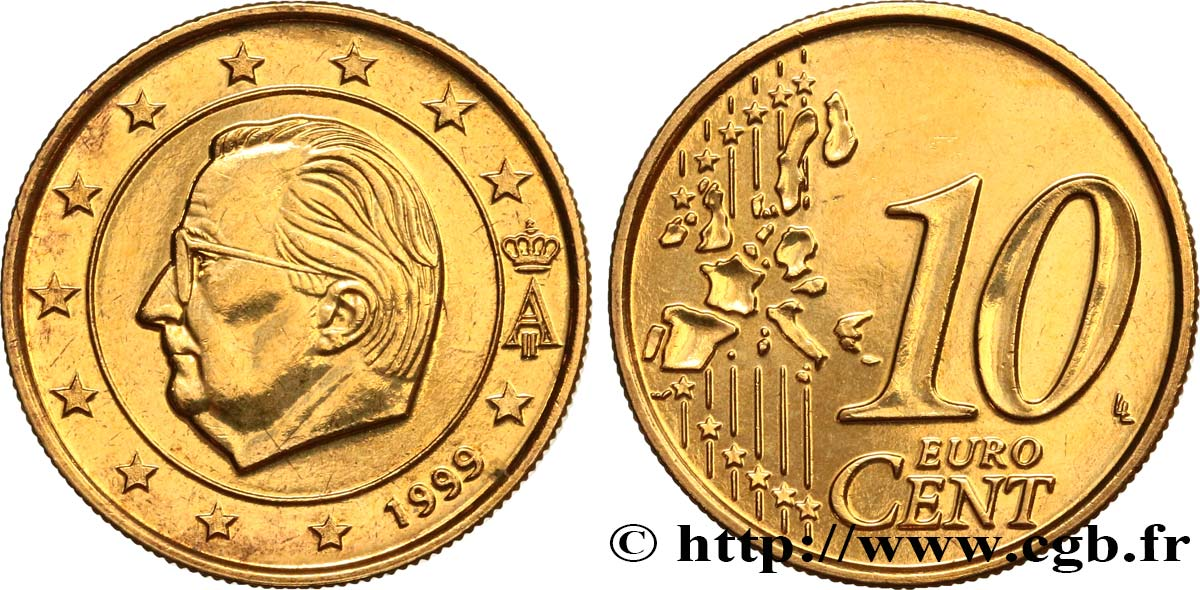 BELGIQUE 10 Cent Albert II, premier type (stries fines) 1999 SPL