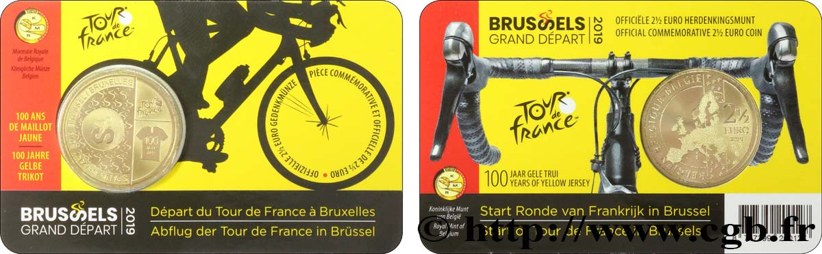 BELGIQUE Coin-card 2 Euro 1/2 TOUR DE FRANCE 2019 - Version française 2019 FDC