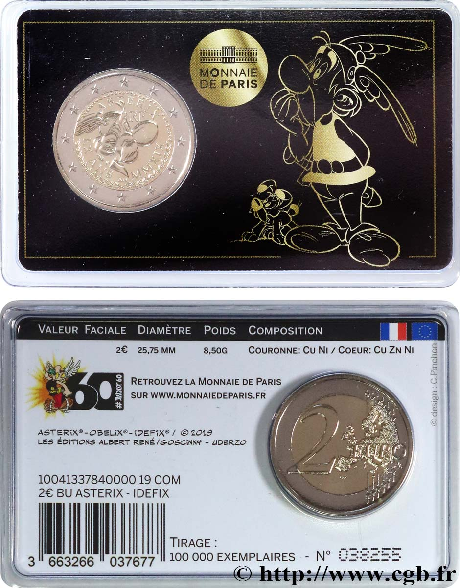 FRANCE Coin-Card 2 Euro ASTÉRIX - Version Astérix et Idéfix 2019 Brilliant Uncirculated