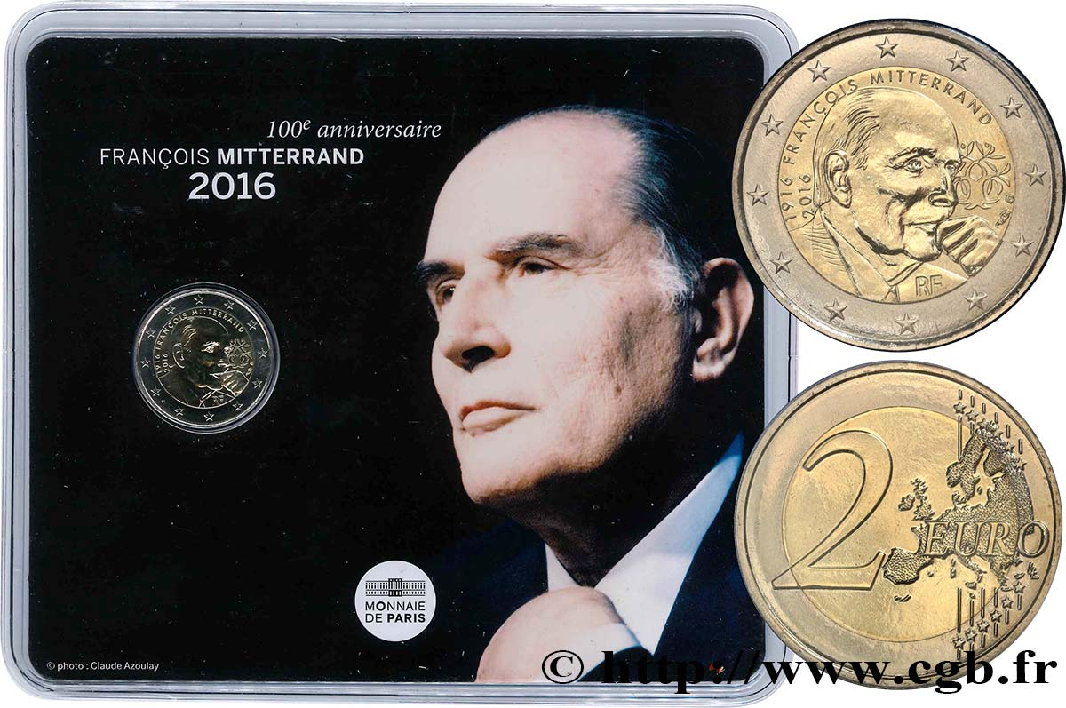 FRANCE Blister BU 2 Euro FRANÇOIS MITTERAND 2016 Brilliant Uncirculated