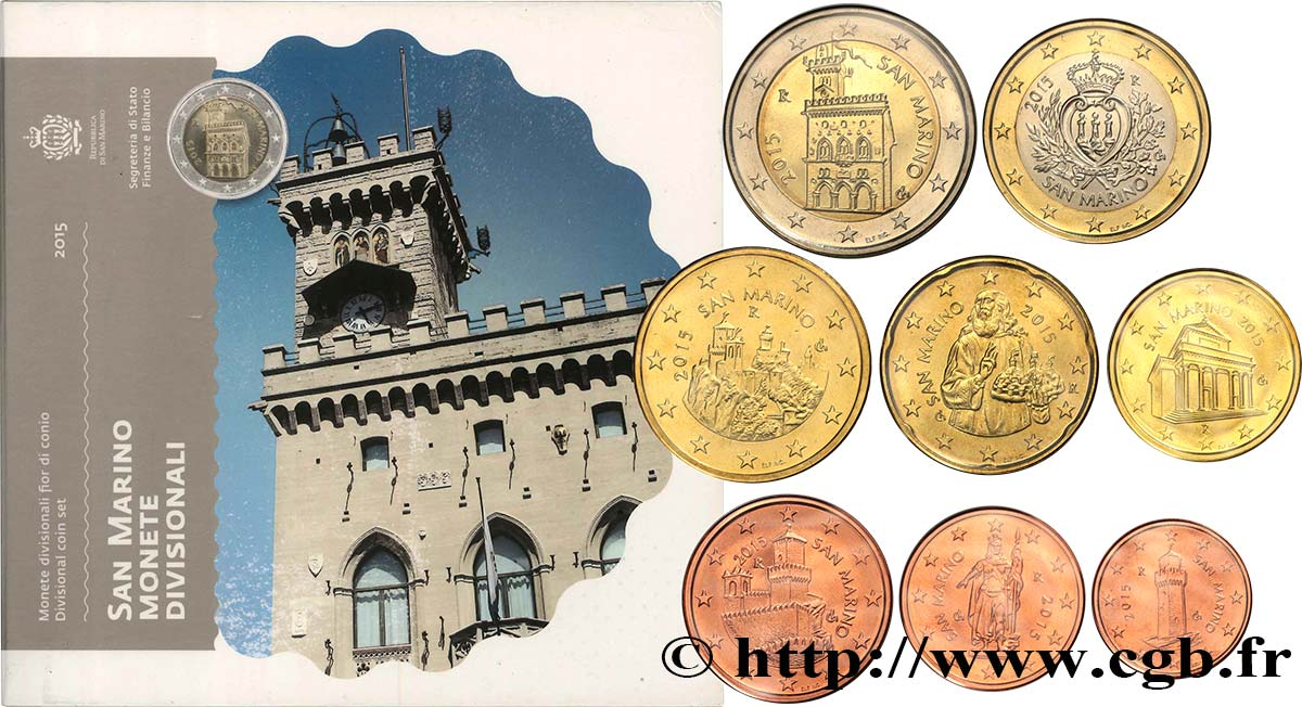 SAN MARINO SÉRIE Euro BRILLANT UNIVERSEL 2015 Brilliant Uncirculated
