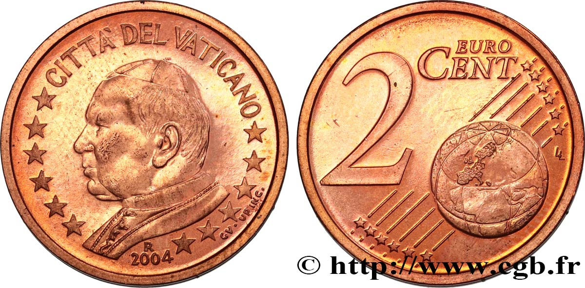 VATICAN 2 Cent JEAN - PAUL II 2004 MS