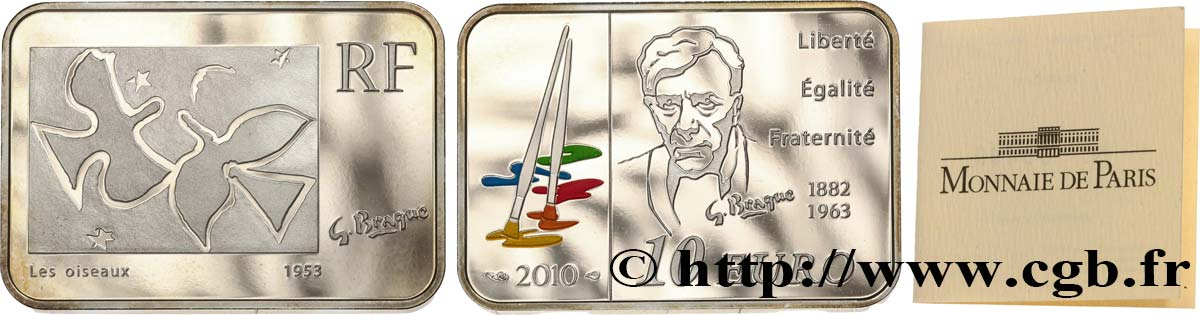FRANCE Belle Épreuve 10 Euro GEORGES BRAQUE (rectangle 30 x 21 mm) 2010 Proof set